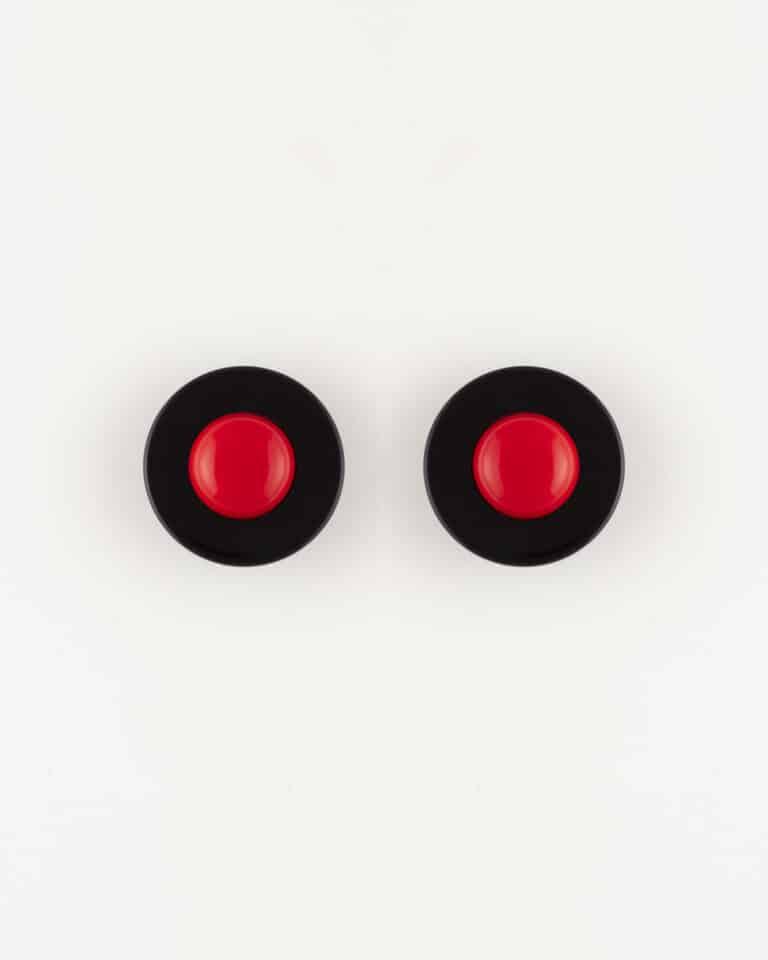 Orecchini bottone bicolore clip
