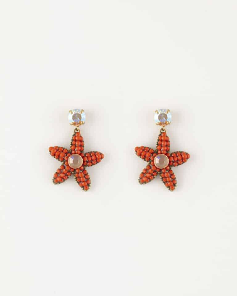 Orecchini pendenti strass stella marina