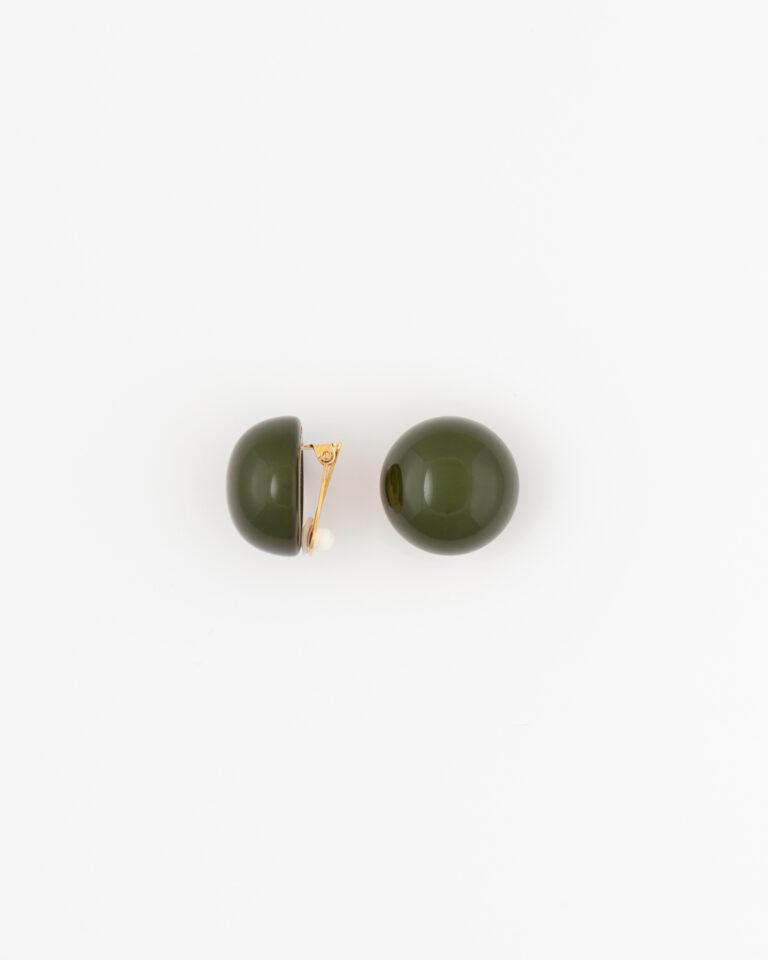 Orecchini Bottone Resina Olivine