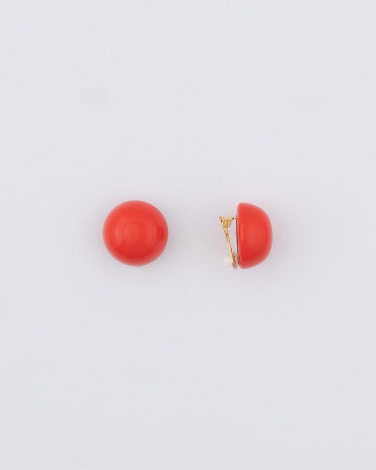 Orecchini Bottone Resina Corallo