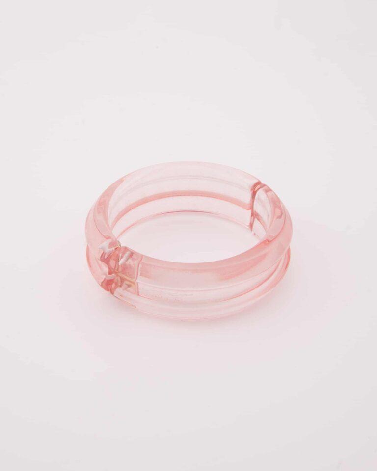 Bracciale Bangle Rosa Trasparente Plastica Riciclata