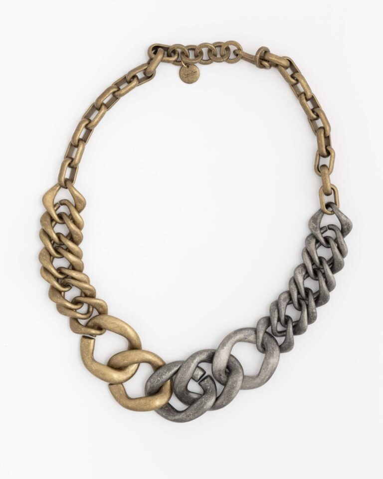 Collana Lunga Chain Mix Oro e Rodio